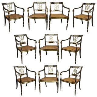 Set of Ten Regency Painted and Giltwood Armchairs For Sale