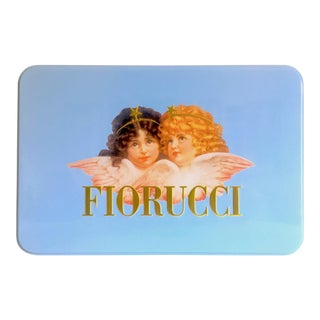Vintage 1980's Rare Fiorucci New Wave Italian Fashion Iconic Cherub Angels Post Modern Blue Tin Metal Box For Sale