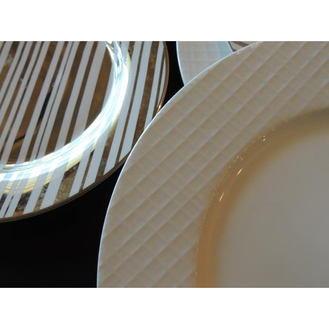 Set of (4) Gold and White Porcelain Plates For Sale - Image 4 of 5