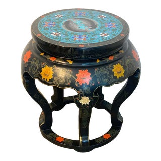 Chinese Export Black Lacquer and Cloisonné Koi Motif Table For Sale