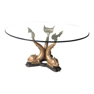 1970s Art Deco Chinoserie Koi Fish Base Dining Table For Sale