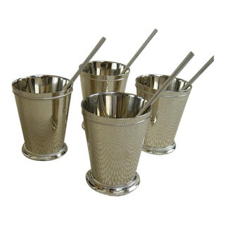 Cocktail Kingdom Nickel-Plated Mint Julep Cups and Steel Straws - Set of 4