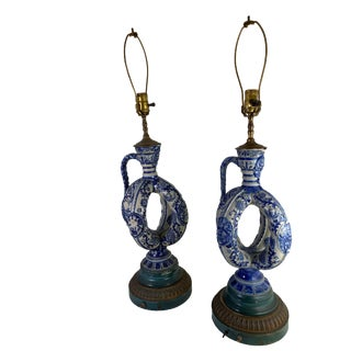 19th Century Chinoiserie Cobalt Blue Salt Glazed Double Ring Flask as Lamps - a Pair For Sale