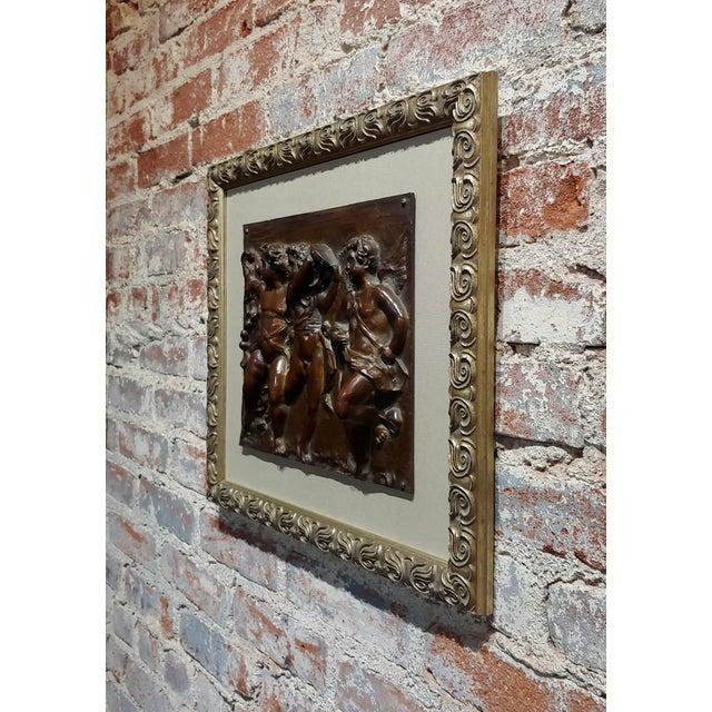 Metal 19th Century French Bronze Relief Plaque - 3 Dancing Cherubs For Sale - Image 7 of 9