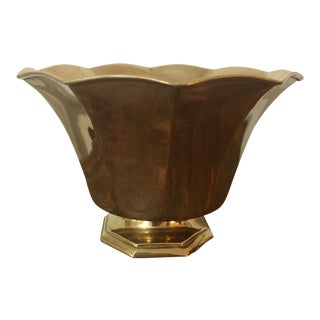 Brass Pedestal Planter With Scalloped Edge For Sale