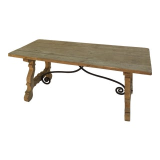 French 19th Century Bleached Oak Trestle Table For Sale