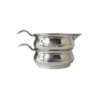 Silverplate Stacked Portable Creamer & Sugar Set For Sale