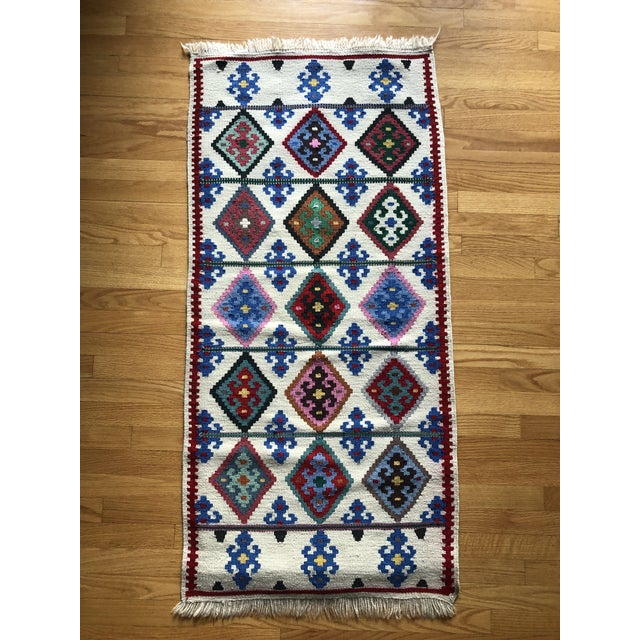 1990s Multi-Colored Wool Rug - 2′2″ × 4′9″ For Sale In Washington DC - Image 6 of 6