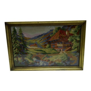 """Circa 1930 Vintage French """"Le Chalet"""" Woven Tapestry"""