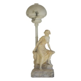 Carved Alabaster Figural Lamp For Sale