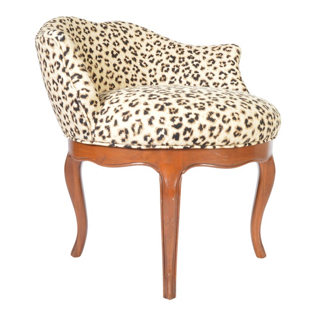 Louis XV Style French Vanity Chair Having Cheetah Upholstery For Sale
