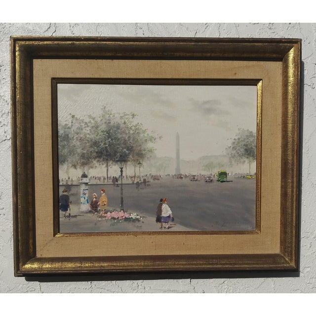 """Mid 20th Century """"Luxor Obelisk Place Del La Concorde Paris"""" Oil Painting by Andre Gisson, Framed For Sale - Image 6 of 6"""