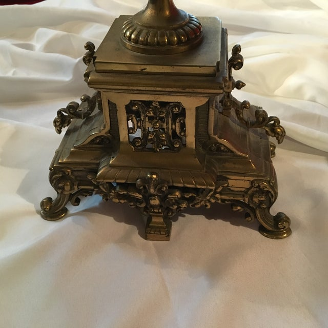 French Bronze Candelabra Lamps - Pair - Image 6 of 7