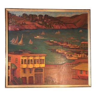 Sausalito Harbor 1940 Painting For Sale