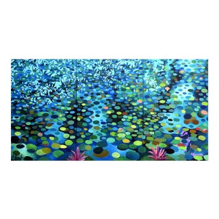 """""""Pond With Tree Shadows"""" Large Triptych by Geoff Greene For Sale"""
