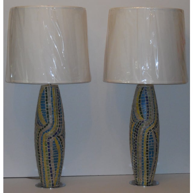 Moasic Table Lamps - A Pair - Image 3 of 11