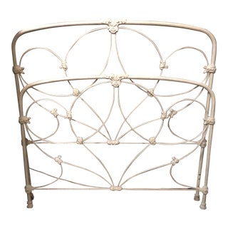 White Victorian Style Metal Headboard and Footboard - 2 Pieces