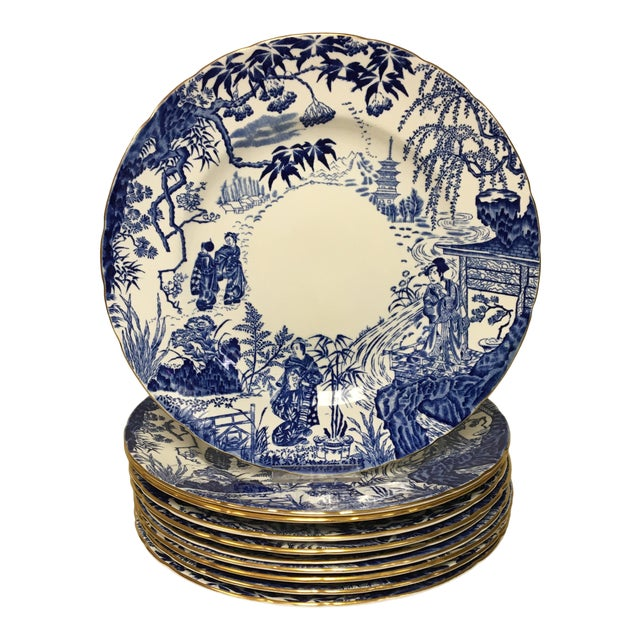 Royal Crown Derby Mikado Blue & White Dinner Plates Set of 10 For Sale
