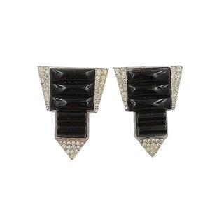 1960s k.j.l. Faux-Onyx & Pavé Rhinestone Fur Clips For Sale