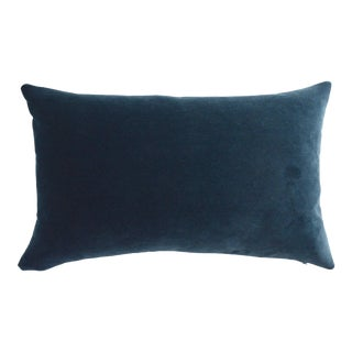 FirmaMenta Italian Dark Blue Velvet Lumbar Pillow For Sale