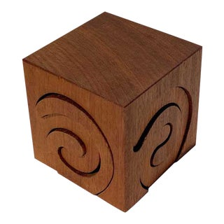 Vintage Spiral Wood Puzzle Box For Sale