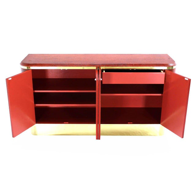 Grass Cloth Brass Credenza or Cabinet or Sideboard Red Brick Color For Sale In New York - Image 6 of 8