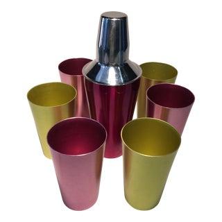 Vintage Anodized Aluminum Shaker & Matching Glasses - Set of 7