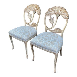 Vintage Fortuny Upholstered Carved Italian Grotto Chairs - a Pair For Sale