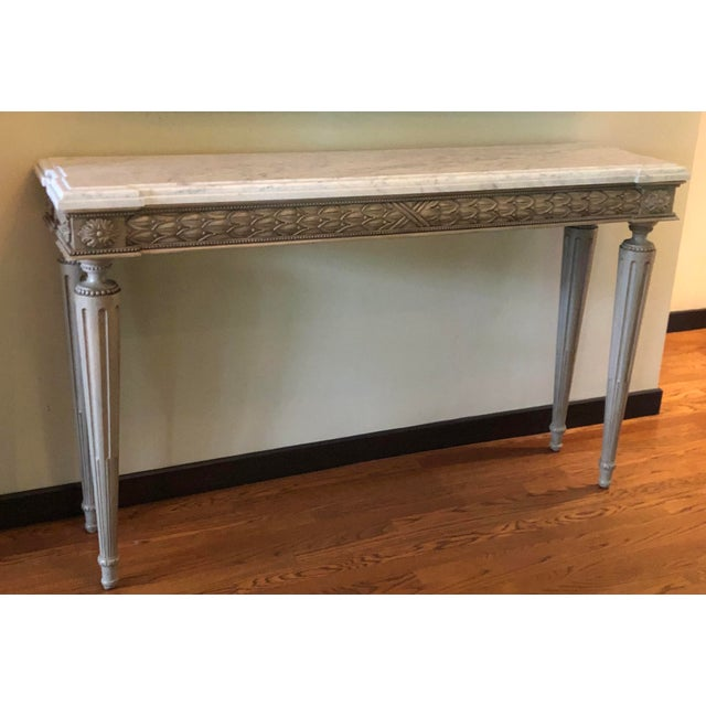 Neoclassical Paint Decorated Marble Top Console Table