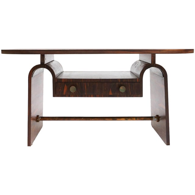 Metal Modernist macassar Art Deco coffee table for Metz & Co For Sale - Image 7 of 7