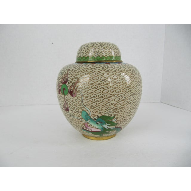 Asian Cloisonné Giner Jar With Dragon For Sale - Image 3 of 8