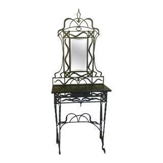 Early 20th Century Handwrought Iron Mirrored Console Table For Sale
