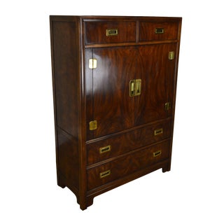 Drexel Dynasty Collection Mahogany Campaign Style Gentlemans Tall Chest For Sale