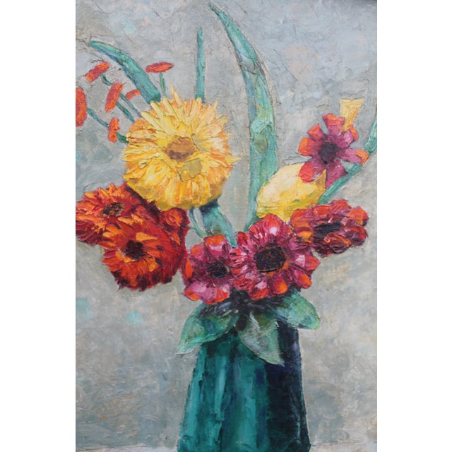 Red Alexander Vintage Still Life of Flowers Painting For Sale - Image 8 of 9
