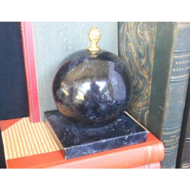 Alabaster Globe Bookend With Brass Finial - Image 7 of 7