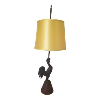 Late 1930s - Early 1940s Iron Rooster Table Lamp With Vintage Yellow Satin Shade For Sale
