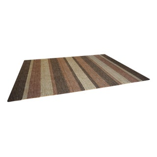 Mid-Century Modern Style Tonal Stripe Hand Made Wool Rug-8x11ft. For Sale