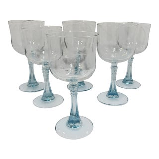Vintage Aqua Blue Stem Cristal 'd Arques Crystal Wine Glasses - Set of 6 For Sale
