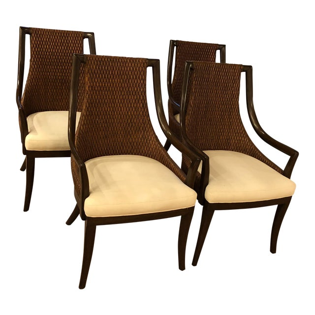 Modern Dining Arm Chairs - A Set of 4 For Sale