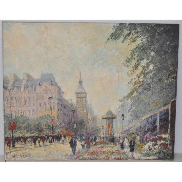 """Marcel Brisson (French, b. 1915) Original """"Paris"""" Oil Painting c.1960 A colorful flower market on a busy street in Paris...."""