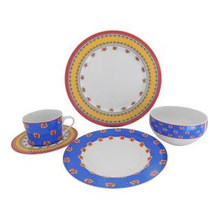 Service for 8 Block Arles Vintage French Provincial Porcelain Dinnerware Five Piece - 40 Pieces For Sale