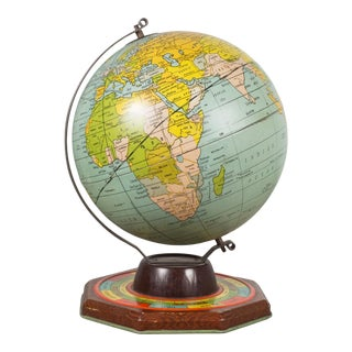 Antique Metal Game Globe by J. Chein, Circa 1930 For Sale