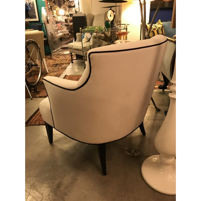 Custom-Made Classic Modern Lined Armchair For Sale In Miami - Image 6 of 8