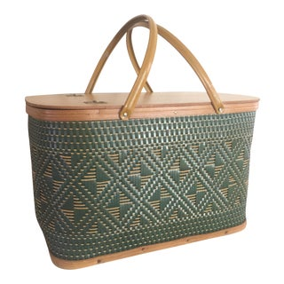 Vintage Mid-Century Woven Buck Eye Green Picnic Basket with Serveware - Set of 35 For Sale