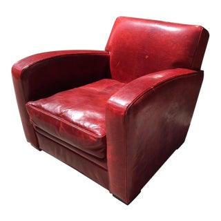 French Leather Club Chair Manner of Dominique For Sale