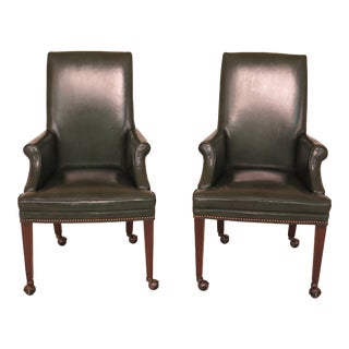 1980s Vintage Green Leather Office Chairs- A Pair For Sale