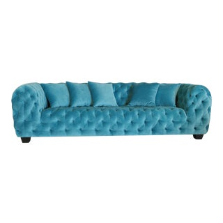Casa Milano Collection Blue Velvet Tufted Sofa For Sale