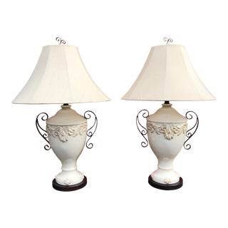 1990s Ceramic White Lamps - a Pair For Sale