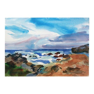 Late 20th Century Sunset Seascape Watercolor Painting by Les Anderson For Sale