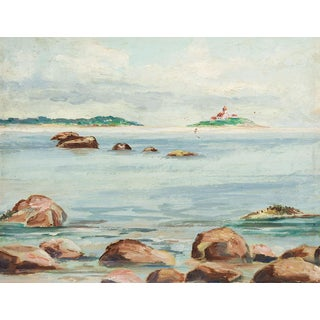 Plein Air Harbor Lighthouse Painting For Sale
